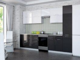 Черно-белая прямая кухня