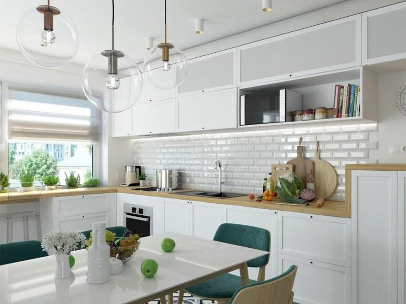 Кухня в светлых тонах, расположение