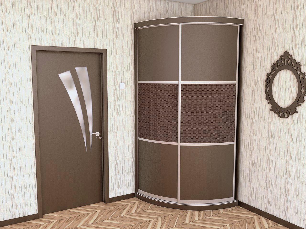 Радиусный шкаф купе с фасадом Ротанг